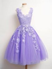 Modern Knee Length Lace Up Quinceanera Court of Honor Dress Lavender for Prom and Party and Wedding Party with Lace