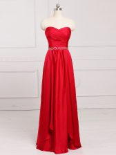 Gorgeous Sleeveless Taffeta Floor Length Zipper Quinceanera Court of Honor Dress in Red with Beading and Belt