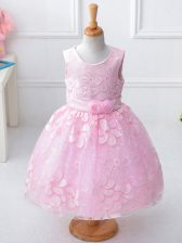 Sleeveless Zipper Knee Length Appliques and Hand Made Flower Child Pageant Dress