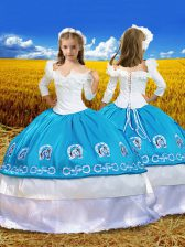 Lovely Ball Gowns Kids Pageant Dress Blue And White Off The Shoulder Taffeta 3 4 Length Sleeve Floor Length Lace Up