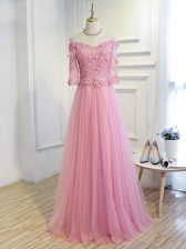 On Sale Pink Prom Dresses Prom and Party and Military Ball and Sweet 16 with Beading and Lace and Appliques Off The Shoulder 3 4 Length Sleeve Lace Up