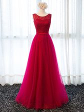Fuchsia Sleeveless Tulle Lace Up Prom Party Dress for Prom and Military Ball and Wedding Party