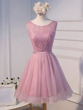 Dazzling A-line Dress for Prom Pink Scoop Tulle Sleeveless Mini Length Lace Up