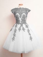 White Tulle Lace Up Scalloped Sleeveless Mini Length Quinceanera Court of Honor Dress Appliques