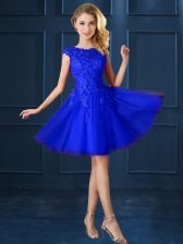 Tulle Bateau Cap Sleeves Lace Up Lace and Belt Court Dresses for Sweet 16 in Blue