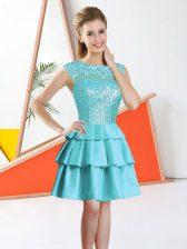 Knee Length Aqua Blue Quinceanera Court Dresses Bateau Sleeveless Backless