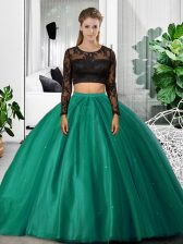 On Sale Scoop Long Sleeves Quinceanera Gown Floor Length Lace and Ruching Dark Green Tulle