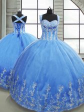Super Baby Blue Tulle Lace Up Sweetheart Sleeveless Floor Length Quinceanera Gowns Beading and Appliques