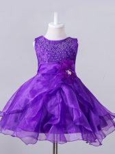 Ball Gowns Little Girls Pageant Gowns Purple Scoop Organza Sleeveless Knee Length Zipper