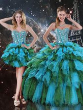 Sweetheart Sleeveless Sweet 16 Dresses Floor Length Beading and Ruffles and Ruffled Layers Multi-color Organza