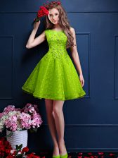 Green Sleeveless Knee Length Beading and Lace Lace Up Quinceanera Court Dresses