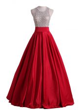 Sumptuous Red Sleeveless Floor Length Beading Backless Prom Dress
