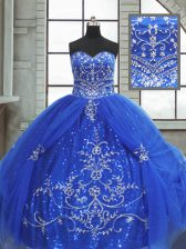 Luxury Blue Lace Up Sweetheart Beading and Appliques Ball Gown Prom Dress Tulle Sleeveless