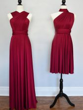 Burgundy Vestidos de Damas Prom and Wedding Party with Ruching Halter Top Sleeveless Lace Up