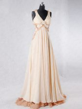 Champagne Homecoming Dress Prom and Party with Beading and Lace and Hand Made Flower V-neck Sleeveless Sweep Train Backless
