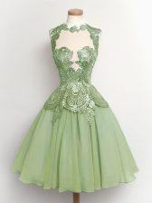 Green Sleeveless Lace Knee Length Damas Dress