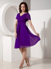 Great Purple V-neck Zipper Ruching Prom Party Dress Short Sleeves