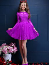 Attractive Mini Length Eggplant Purple Dama Dress for Quinceanera Scalloped 3 4 Length Sleeve Lace Up