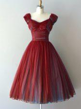 Rust Red Cap Sleeves Ruching Knee Length Vestidos de Damas