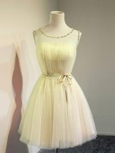 Romantic Gold Sleeveless Knee Length Belt Lace Up Dama Dress for Quinceanera