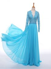 Lace and Appliques Prom Dress Baby Blue Zipper Long Sleeves Floor Length