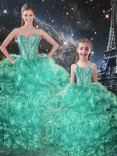 Turquoise Ball Gowns Beading and Ruffles Quince Ball Gowns Lace Up Organza Sleeveless Floor Length