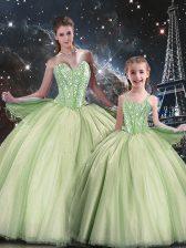 Floor Length Yellow Green Sweet 16 Dresses Sweetheart Sleeveless Lace Up