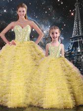 Yellow Sweetheart Neckline Beading and Ruffles Sweet 16 Dress Sleeveless Lace Up