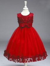 Wine Red Sleeveless Knee Length Lace and Bowknot Zipper Kids Pageant Dress