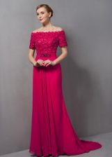 Chiffon Off The Shoulder Short Sleeves Sweep Train Zipper Lace Prom Dress in Hot Pink