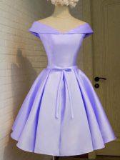 Off The Shoulder Cap Sleeves Vestidos de Damas Knee Length Belt Lavender Taffeta
