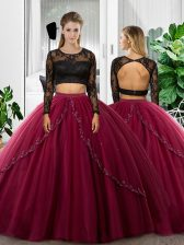 Fuchsia Long Sleeves Lace and Ruching Floor Length Quinceanera Dress