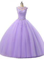 Custom Designed Floor Length Lavender 15th Birthday Dress Tulle Sleeveless Beading and Lace