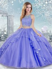 Best Selling Lavender Two Pieces Beading and Lace Ball Gown Prom Dress Clasp Handle Tulle Sleeveless Floor Length