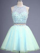 Designer Light Blue Tulle Zipper Scoop Sleeveless Knee Length Damas Dress Beading