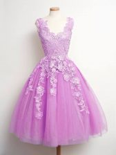 Knee Length A-line Sleeveless Lilac Damas Dress Lace Up