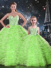 Sweetheart Sleeveless Tulle Quinceanera Dress Beading and Ruffles Lace Up