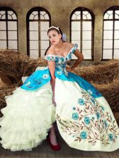 Floor Length Multi-color Ball Gown Prom Dress Taffeta Sleeveless Embroidery and Ruffled Layers