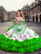 Green Organza and Taffeta Lace Up Sweetheart Sleeveless Floor Length Sweet 16 Quinceanera Dress Embroidery and Ruffled Layers