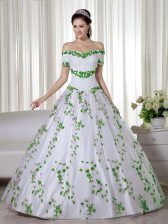 Top Selling Floor Length Lace Up Sweet 16 Dresses White for Military Ball and Sweet 16 and Quinceanera with Embroidery