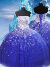 Low Price Blue Strapless Neckline Beading Ball Gown Prom Dress Sleeveless Lace Up