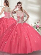 Hot Pink Scoop Zipper Beading Vestidos de Quinceanera Sleeveless