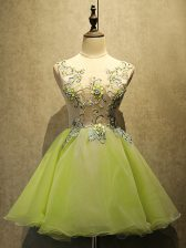 Stunning Yellow Green Organza Lace Up Scoop Sleeveless Mini Length Prom Dress Embroidery