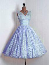 Lavender Sleeveless Lace Mini Length Quinceanera Dama Dress