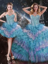 Multi-color Ball Gowns Sweetheart Sleeveless Organza Floor Length Lace Up Beading and Ruffled Layers Ball Gown Prom Dress