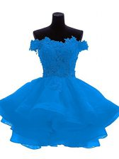 Perfect Blue Off The Shoulder Zipper Lace and Appliques and Ruffles Evening Dress Sleeveless