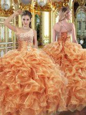 Orange Organza Lace Up Vestidos de Quinceanera Sleeveless Floor Length Beading and Ruffles
