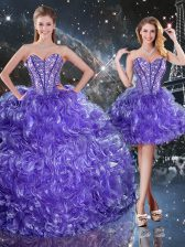 Adorable Purple Lace Up Sweetheart Beading and Ruffles Quinceanera Gowns Organza Sleeveless