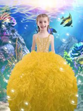 Elegant Gold Ball Gowns Straps Sleeveless Organza Floor Length Lace Up Beading and Ruffles Girls Pageant Dresses