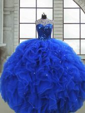 High Class Sleeveless Ruffles and Sequins Zipper Quince Ball Gowns